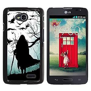Caucho caso de Shell duro de la cubierta de accesorios de protección BY RAYDREAMMM - LG Optimus L70 / LS620 / D325 / MS323 - Witch Grey Black Halloween Old