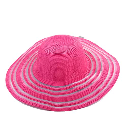 Ablaze Jin Sun Protective Hats Elegant Sunhats Outside Work Lace Foldable Straw Hat Wavy Edge Along The Beach Holiday Sunhat,Rose Red,M