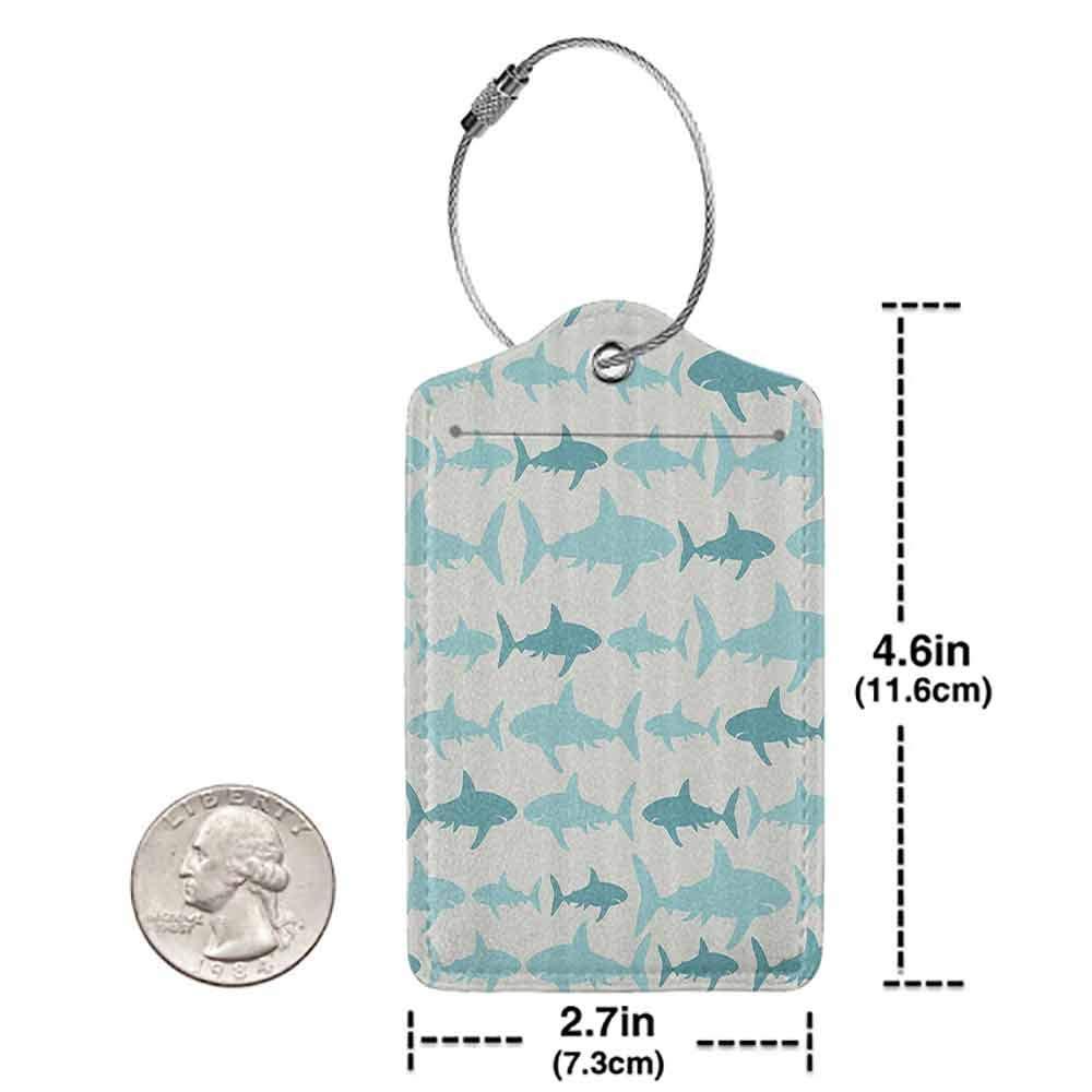 Multi-patterned luggage tag Fish Blue Sharks Pattern Sea Animals Theme Monochrome Fashion Maritime Aquatic Print Double-sided printing Blue White W2.7 x L4.6