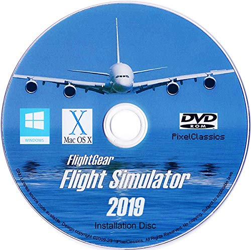 Flight Simulator 2019 X Flight Sim Plane & Helicopter FlightGear Including 500+ Aircraft DVD CD Disc For Microsoft Windows 10 8 7 Vista PC & Mac OS X