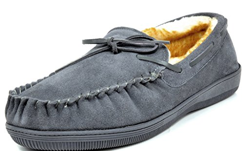 Dreams Slippers (DREAM PAIRS Men's Fur-Loafer-01 Grey Suede Slippers Loafers Shoes Size 7 M US)
