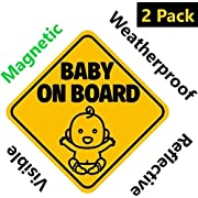 NEW DESIGN: Reflective and Magnetic Baby on Board Sign for Your Car or Auto (2 Pack) by Bayamo
