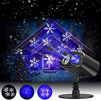 EECOO LED Projector Lights Landscape Spotlight Waterproof Outdoor and Indoor Party Lights for Valentine's Day Wedding Christmas Theme Party Landscape and Garden Home Decoration (Blue+White)