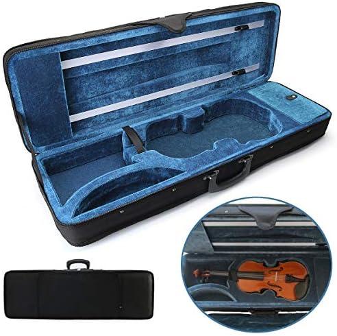 Queenwind 4/4 フルサイズ楕円形形状黒バイオリンキャリーボックスハードケースクッション調節可能なストラップパーツ付き