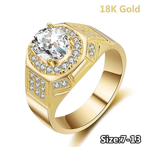 Digital baby Jewelry 18k Gold Rings for Men AAA Cubic Zirconia Diamond Engagement Wedding Mens ()