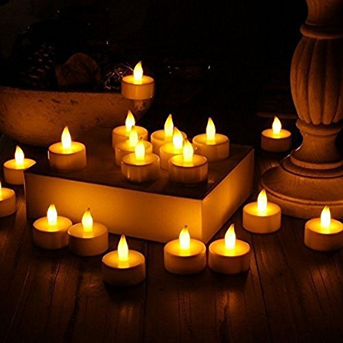 Realistic Bright Flameless LED Tea Light Candles, Bright, Flickering, Battery Powered Fake Candles, Unscented Tealights, Pack of 24-Vont (Lights Tea)