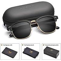 LUENX Clubmaster anteojos de sol polarizadas de los hombres: protección UV 40051mm. Con Funda
