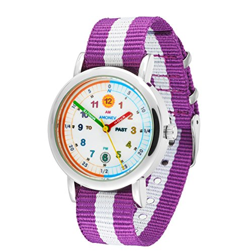 Amonev Time Teacher Watch its Blue and White Strap Colorful Easy to Read dial is The Perfect Kids Watch (Purple White) ()