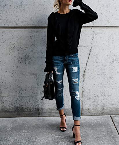 Rond Col Casual de Haut Pulls C Longues Shirts Manches Pullover Fashion Femmes T Sweatshirts Printemps Sweater Jumper Lotus Chandail Noir Automne t et Tops Feuille AtqxwnXI