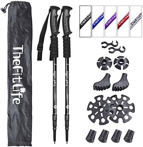 TheFitExistence Nordic Walking Trekking Poles - 2 Pack with Antishock and Quick Lock System, Telescopic, Collapsible, Ultralight for Hiking, Camping, Mountaining, Backpacking, Walking, Trekking