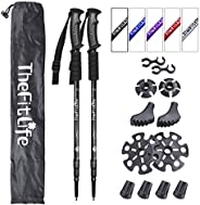 TheFitLife Nordic Walking Trekking Poles - 2 Pack with Antishock and Quick Lock System, Telescopic, Collapsibl