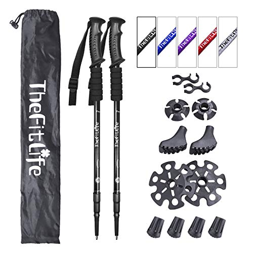 - TheFitLife Nordic Walking Trekking Poles - 2 Packs with Antishock and Quick Lock System, Telescopic, Collapsible, Ultralight for Hiking, Camping, Mountaining, Backpacking, Walking, Trekking (Black)