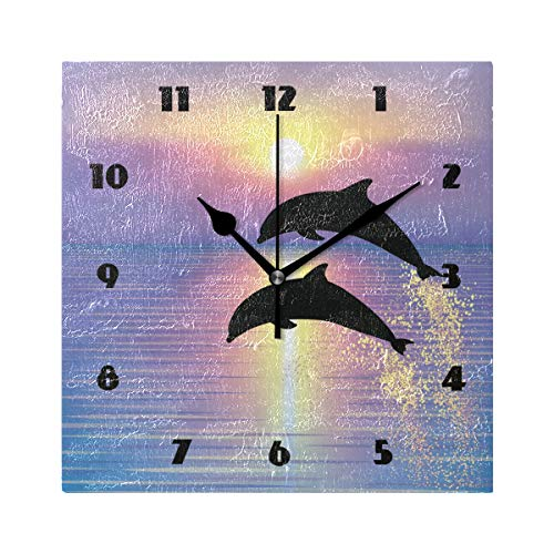 (DJROW Dolphins Jumping Square Wall Clock Oil Painting Acrylic Battery Operated Clocks Decorative 8x8)