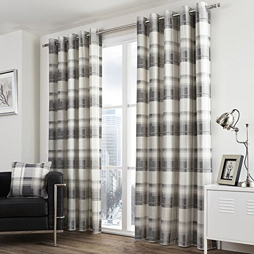Tony's Textiles Pair of Check Striped Lined Window Curtain Panels with Eyelet Grommet Top 66