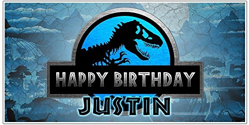 Jurassic World Birthday Banner Personalized Party Decoration Backdrop by Paper Blast