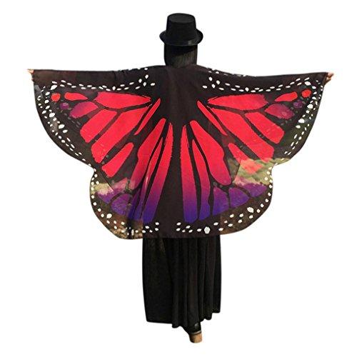 Angel Chiffon Wings Pink (Fheaven Women Butterfly Wings Shawl Loose Kimono Chiffon Casual Cardigan Top Shirt Blouse (Hot)