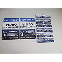2 Video Surveillance Security Alarm System Yard Signs & 12 Window Stickers - Stock # 718