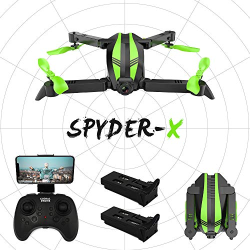 Global Drone Spyder-X Drones with Camera 720P Wide-Angle HD Live Video, Wi-Fi FPV Quadcopter with Altitude Hold, Gesture Selfie, Foldable Arms, RC Mini Drone for Kids, Adults, Beginners
