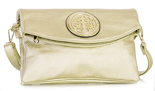 Gold Womens Vegan Bag Multiple Pockets Over 1 Shop Design Leather Handbag Shoulder Big Trendy Clutch Flap Soft Evening RHnAqSCw