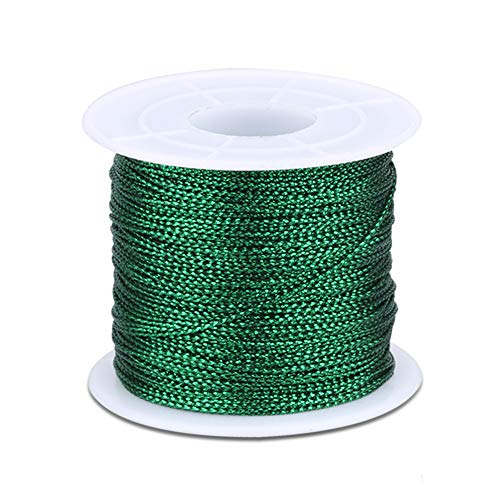 Spool Green String Metallic Cord Tinsel String Craft Making Cord for Wrapping,Hair Braiding and Craft Making 100 Meters/ 109 Yards-1mm