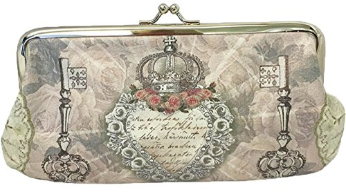[Van Asch Secret Heart Victorian Skeleton Keys & Crown Kisslock Cosmetic Bag] (Skeleton Makeup)