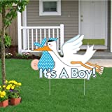 ''It's a Boy'' Die Cut Stork, Baby Announcement Yard Sign (Light Skin Toned Baby)