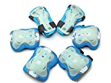 Skating 6 Pcs/Set Kid's Protective Gear Set with Elbow Knee Wrist Pad for Roller Skating Skateboard BMX Scooter Cycling (Blue M for Protection