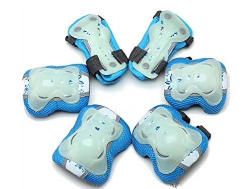 Skating 6 Pcs/Set Kid's Protective Gear Set with Elbow Knee Wrist Pad for Roller Skating Skateboard BMX Scooter Cycling (Blue S) for Protection by Wetietir