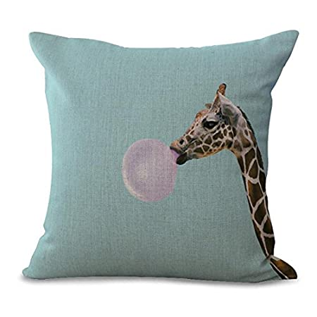 eazyhurry creative bubble gum giraffe print linen decorative throw ...