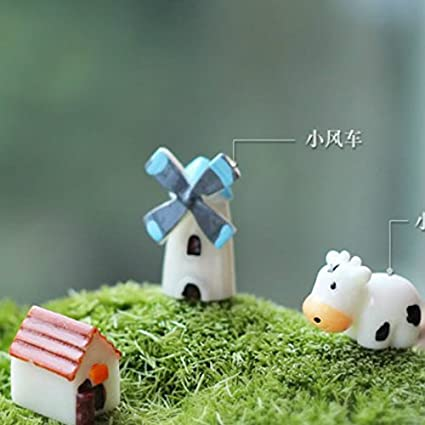 EasyBuy India 3 Pcs/resin cow with windmill house/fantasy
