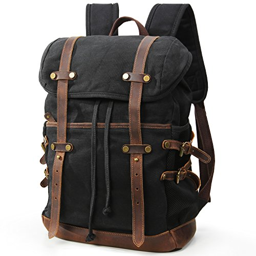 Lifewit Waxed Canvas Backpack Waterproof 15.6 Inch Laptop Casual School College Bags Travel Rucksack
