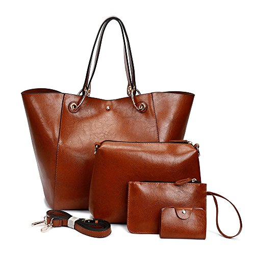 Women's Tote Bag Soft Pu Leather Super Large 4pcs Water-resistant IBFUN Shoulder Bag Shopping Bag Purse Handbag Brown by IBFUN