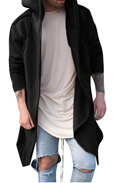 a6493e105945 ARTFFEL Men Hooded Casual Solid Color Loose Cardigan Trench Coat Outerwear  at Amazon Men s Clothing store