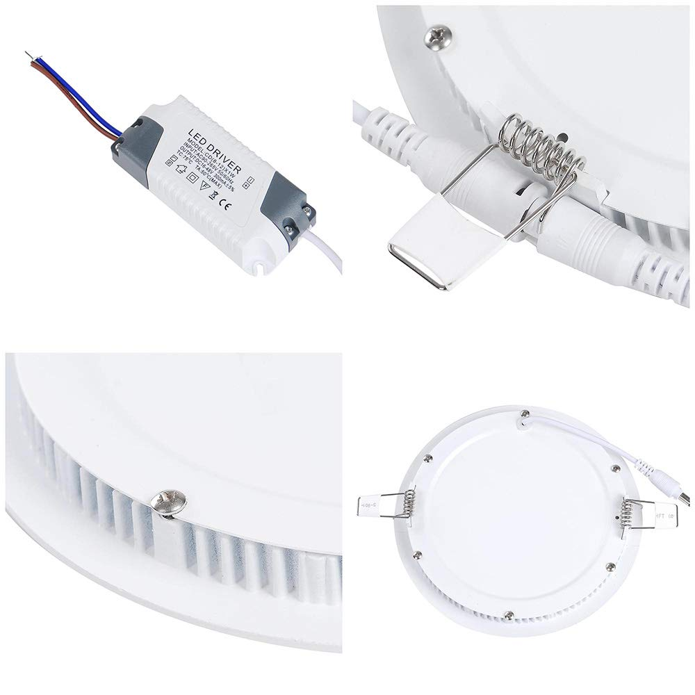 Yescom 15W 7 LED Recessed Panel Ceiling Light Ultra-thin 1000LM ...