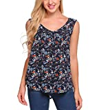 Zeagoo Women's Floral Tank Top Sleeveless Sexy V Neck Pleated Blouse Shirt