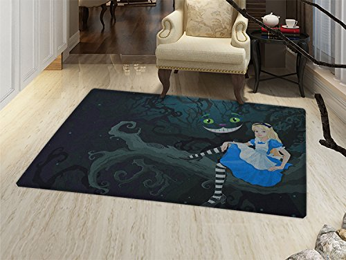 smallbeefly in Wonderland Door Mats for home Alice Sitting on Branch and Chescire Cat in Darkness Cartoon Style Bath Mat Bathroom Mat with Non Slip Multicolor -