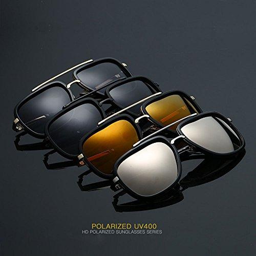 plata Plateado de Gran Piloto La negro Gafas Retro Marrón de Plaza sol de Polarizados Hombres Metal dw6ZqRFR