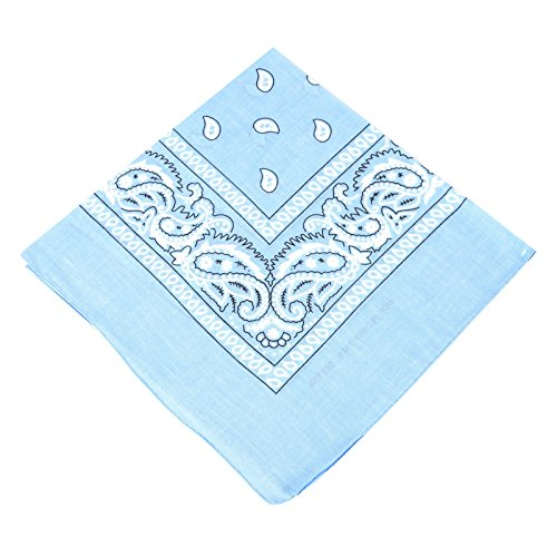 (BOOLAVARD 1s, 6s, 9s or 12 Pack Cowboy Bandanas with Original Paisley Pattern (Baby Blue))