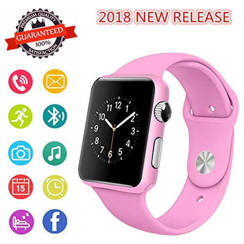 Smartwatch, Bluetooth Smart Watch Phone 2018 Upgrade Wristwatch with Pedometer Camera SMS SNS Sync Music Player SIM Card Slot for Android IPhone Men Women Kids (Pink)