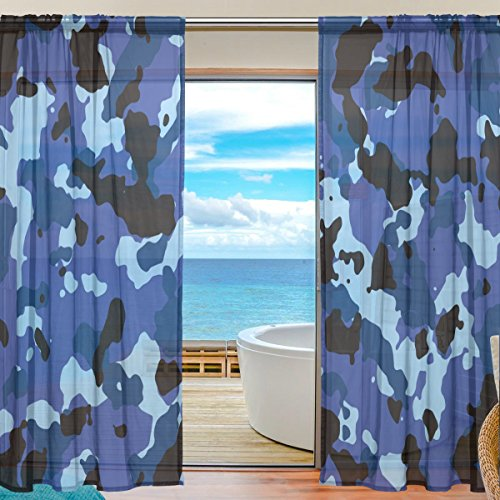 Military Camo Camouflage Pattern Print Window Sheer Curtain Panels, Door Window Gauze Curtains for Living Room Bedroom Kid Office Home Decor 55x78 inch Two Panels (Tent Style Napkin Rings)