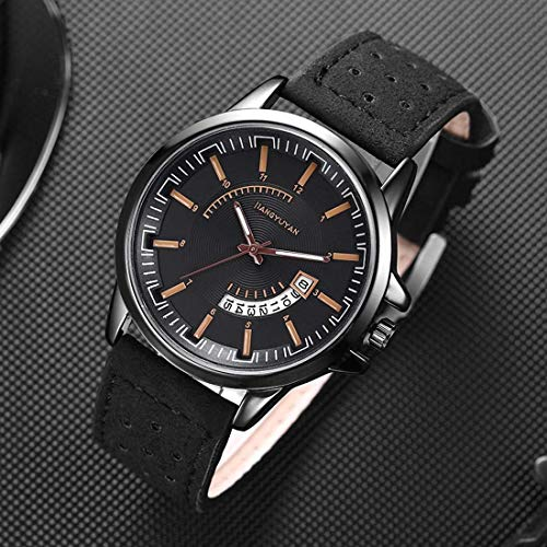 - DBCSD Watch Wrist Watch with Calendar & Leather Strap/Band & Alloy Case Watch for Man (Black)