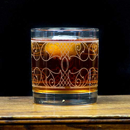 Old Fashioned Whiskey Rocks Glass by The Modern Home Bar - Filigree Nouveau - Set of 4 11oz Tumblers ()