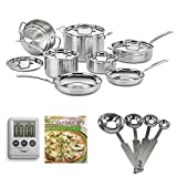 Cuisinart MCP-12N MultiClad Pro Stainless Steel 12-Piece Cookware Set with Stainless Steel Measuring Spoon Set, 100-Minute Timer and Not Your Mother's Weeknight Cooking