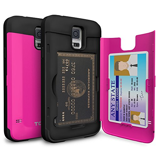 Galaxy S5 Case, TORU [S5 Wallet Case Pink] Protective Slim Fit Dual Layer Hidden Credit Card Holder ID Slot Card Case with Mirror for Samsung Galaxy S5 / S5 Neo - Hot Pink