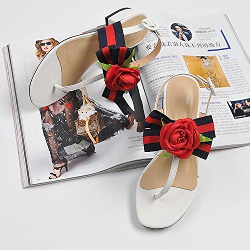 zapatos viaje con solo de baja 37 y clip la con verano duro que blanco femeninos la Sandalias hebilla RC67qOq