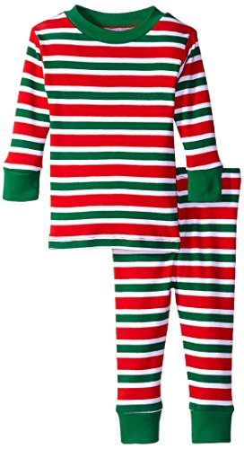 New Jammies Baby Boys' Organic Pajamas Christmas Stripes, Red, 12 Months