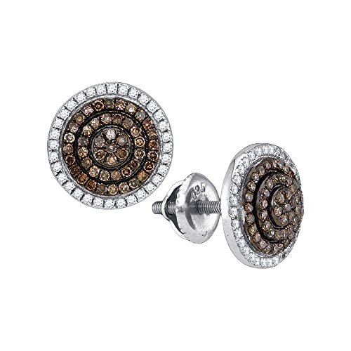 10kt White Gold Womens Round Cognac-brown Colored Diamond Concentric Cluster Earrings 1/2 Cttw (I2-I3 clarity; Brown color)