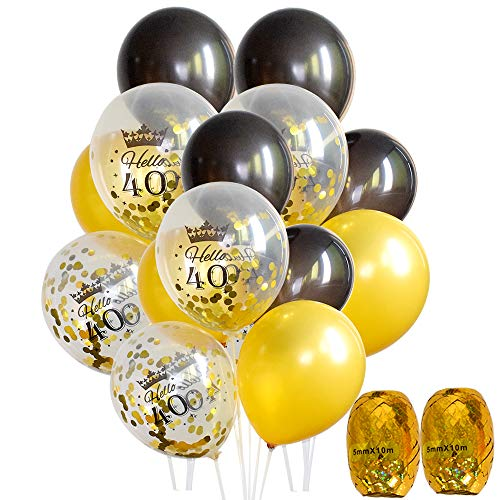 "40th Birthday Balloons - 12"" Gold and Black Latex Balloons C"