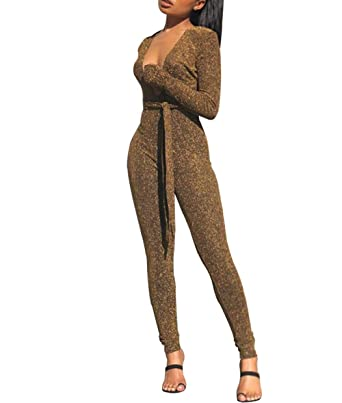 b30c70ede115 Women s Sexy Sparkly V Neck High Waist Jumpsuits Long Sleeve Rompers with  Belt (Small
