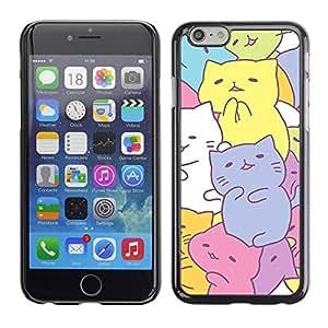 """For Apple Apple iPhone 6 / 6S (4.7 inches!!!) Plus / 6S Plus ( 5.5 ) Case , Gatitos lindos de dibujo en colores pastel colorido"""" - Diseño Patrón Teléfono Caso Cubierta Case Bumper Duro Protección Case Cover Funda"""